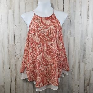 Violet & Claire Top Orange Paisley Loose Layered